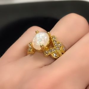 Jewelry - Yellow Gold-tone ring faux Fire Opal Gemstone